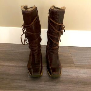 Vintage Italian leather with fur trim boots